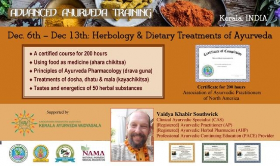 8-day 200 hr workshop: Herbology & Dietary Treatments of Ayurveda
