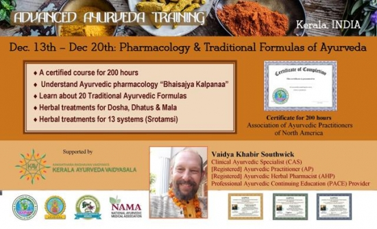 8-day 200 hr workshop: Herbal Pharmacology & Traditional Formulas of Ayurveda